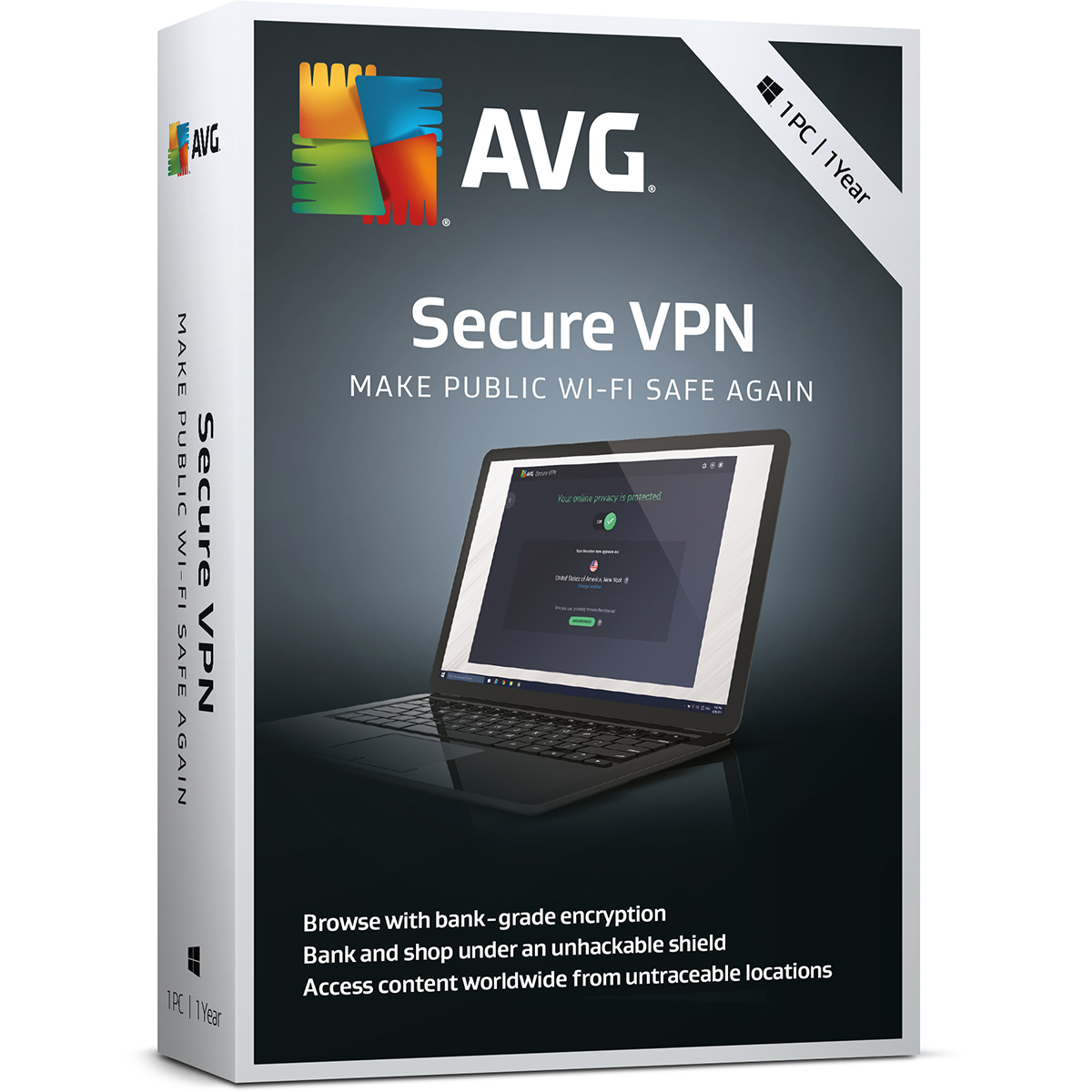 AVG Secure VPN 1 Year License ( 1 Active Connection at a time )